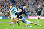 CORRECTION Adam Hastings under pressure during the Autumn Test match between Scotland and Argentina at Murrayfield, Edinburgh, Scotland on 24 November 2018.