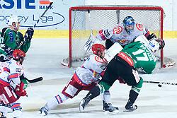 Ziga Pavlin (HDD Tilia Olimpija, #17) scores a goal during ice-hockey match between HDD Tilia Olimpija and HK Acroni Jesenice in 41st Round of EBEL league, on Januar 23, 2011 at Hala Tivoli, Ljubljana, Slovenia. (Photo By Matic Klansek Velej / Sportida.com)