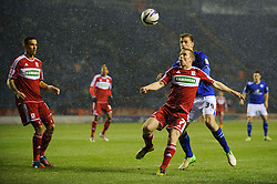 Middlesbrough Midfielder Grant Leadbitter (ENG) and Leicester Forward Chris Wood (NZL) compete for the ball during the first half of the match - Photo mandatory by-line: Rogan Thomson/JMP - Tel: Mobile: 07966 386802 18/01/2013 - SPORT - FOOTBALL - King Power Stadium - Leicester. Leicester City v Middlesbrough - npower Championship.