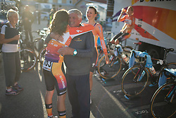 Poignant moment between Evelyn Stevens (USA) and Boels-Dolmans Cycling Team helper after the 42,5 km team time trial of the UCI Women's World Tour's 2016 Crescent Vårgårda women's road cycling race on August 19, 2016 in Vårgårda, Sweden. (Photo by Balint Hamvas/Velofocus)