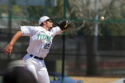 17 April 2016:   during an NCAA division 3 College Conference of Illinois and Wisconsin (CCIW) Pay in Baseball game during the Conference Championship series between the North Central Cardinals and the Illinois Wesleyan Titans at Jack Horenberger Stadium, Bloomington IL
