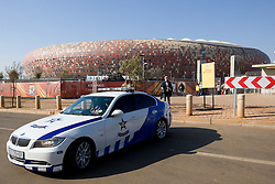 Police in front of the Soccer City Stadium on June 11, 2010 in Johannesburg, South Africa.  (Photo by Vid Ponikvar / Sportida)