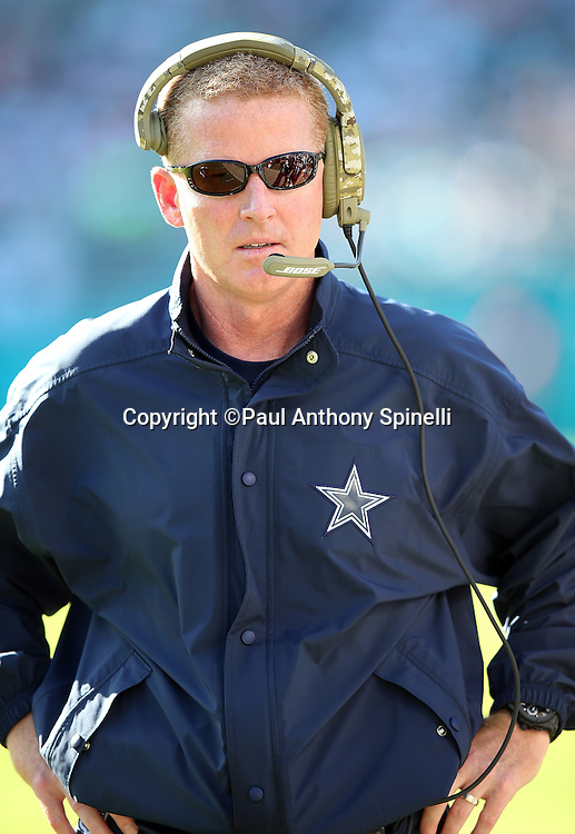 Dallas Cowboys head coach Jason Garrett claps looks on from the sideline during the 2015 week 11 regular season NFL football game against the Miami Dolphins on Sunday, Nov. 22, 2015 in Miami Gardens, Fla. The Cowboys won the game 24-14. (©Paul Anthony Spinelli)