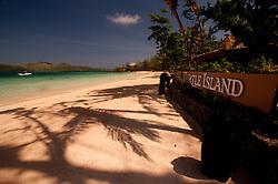 Turtle Island Sign at Dolphin Beach, Turtle Island, Yasawa Islands, Fiji