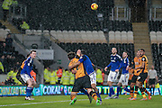 Mohamed Diamé (Hull City) brought down by Lee Peltier (Cardiff City) for the penalty during the Sky Bet Championship match between Hull City and Cardiff City at the KC Stadium, Kingston upon Hull, England on 13 January 2016. Photo by Mark P Doherty.