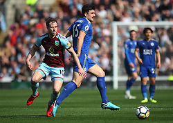 Ashley Barnes of Burnley (L) and Harry Maguire of Leicester City in action - Mandatory by-line: Jack Phillips/JMP - 14/04/2018 - FOOTBALL - Turf Moor - Burnley, England - Burnley v Leicester City - English Premier League