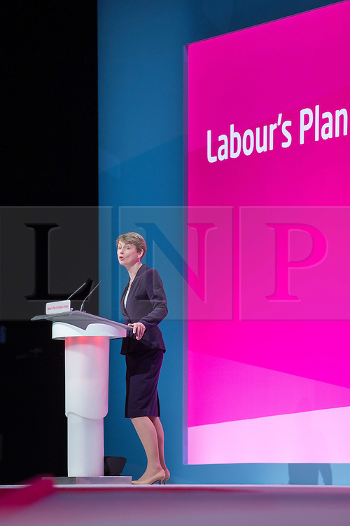 © Licensed to London News Pictures . 24/09/2014 . Manchester , UK . The Shadow Home Secretary YVETTE COOPER delivers a speech to the conference . The Labour Party Conference 2014 . Photo credit : Joel Goodman/LNP