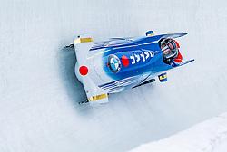 18.01.2020, Olympia Eiskanal, Innsbruck, AUT, BMW IBSF Weltcup Bob und Skeleton, Igls, Bob Zweisitzer, Herren 1. Lauf, im Bild Ryo Shinohara, Kenji Murakami (JPN) // Ryo Shinohara Kenji Murakami of Japan in action during his 1st run of men's doubles Bobsleigh of BMW IBSF World Cup at the Olympia Eiskanal in Innsbruck, Austria on 2020/01/18. EXPA Pictures © 2020, PhotoCredit: EXPA/ Stefan Adelsberger