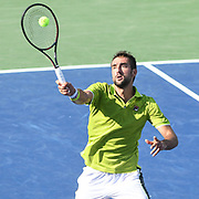 MARIN CILIC hits a forehand volley at the Rock Creek Tennis Center.