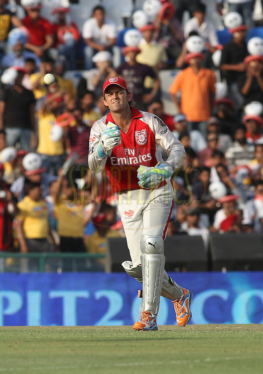Captain Adam Gilchrist of the Kings XI Punjab during match 9 of the Indian Premier League ( IPL ) Season 4 between the Kings XI Punjab and the Chennai Super Kings held at the PCA stadium in Mohali, Chandigarh, India on the 13th April 2011..Photo by Shaun Roy/BCCI/SPORTZPICS