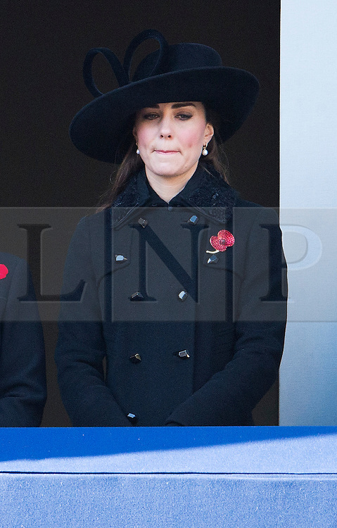 © London News Pictures. 11/11/2012. London, UK. Catherine Duchess of Cornwall looking over during the Remembrance Day Ceremony at the Cenotaph on November 13, 2011 in London, United Kingdom. Politicians and Royalty joined the rest of the county in honouring the war dead by gathering at the iconic memorial to lay wreaths and observe two minutes silence. Photo Credit: Ben Cawthra/LNP