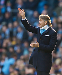 MANCHESTER, ENGLAND - Sunday, January 31, 2010: Manchester City's manager Roberto Mancini during the Premiership match against Portsmouth at the City of Manchester Stadium. (Photo by David Rawcliffe/Propaganda)
