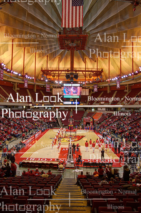 21 November 2015: A high dynamic range composition of Redbird arena while the teams are introduced. Illinois State Redbirds host the Houston Baptist Huskies at Redbird Arena in Normal Illinois (Photo by Alan Look)<br />