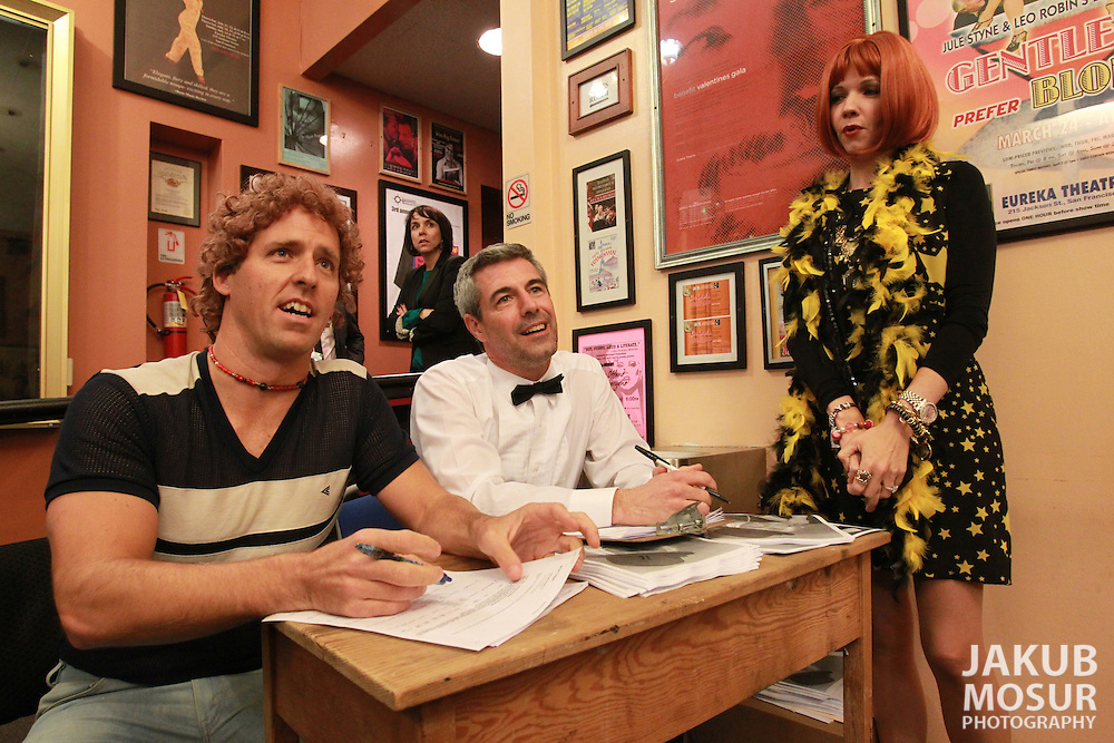 Nat Faxon, Allison Kingsley, David Jahn, and Susan Yeagley greet audience members in character in the Eureka Theatre lobby before their show, The Groundlings: Beverly Winwood Presents The Actors Showcase on Saturday, January 21, 2012 during the opening weekend of SF Sketchfest: The San Francisco Comedy Festival. The 11th annual SF Sketchfest is held at 15 venues in the San Francisco Bay Area from January 19 - February 4, 2012. (© 2012 Photo by Jakub Mosur)