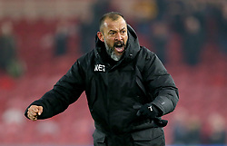 Wolverhampton Wanderers manager Nuno Espirito Santo celebrates after the final whistle during the Sky Bet Championship match at Riverside Stadium, Middlesbrough.