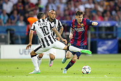 06-06-2015 GER: UEFA Champions League final Juventus - Barcelona, Berlin<br /> Aktion, mit Carlos Tevez #10 (Juventus Turin), Arturo Vidal #23 (Juventus Turin) und Lionel Messi #10 (FC Barcelona) during the UEFA Champions League final match between Juventus FC and Barcelona FC at the Olympia Stadion in Berlin<br /> <br /> ***NETHERLANDS ONLY***