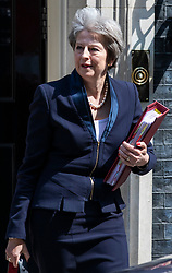 © Licensed to London News Pictures. 23/05/2018. London, UK. Prime Minister Theresa May leaves 10 Downing Street as she heads to Parliament for Prime Minister's Questions. Photo credit: Rob Pinney/LNP