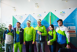 Slovenian Snowboarders during Arrival of Zan Kosir, Bronze medalist at Olympic Games in Pyeongchang 2018, on February 26, 2018 in Aerodrom Ljubljana, Letalisce Jozeta Pucnika, Kranj, Slovenia. Photo by Ziga Zupan / Sportida