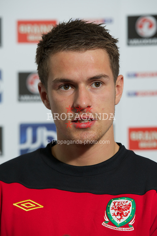 CARDIFF, WALES - Tuesday, August 9, 2011: Wales' captain Aaron Ramsey during a press conference at the Vale of Glamorgan ahead of the International Friendly match against Australia. (Photo by David Rawcliffe/Propaganda)
