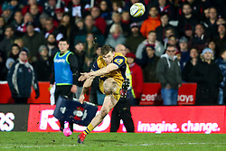 Jason Woodward of Bristol Rugby kicks a conversion - Rogan Thomson/JMP - 03/12/2016 - RUGBY UNION - Kingsholm Stadium - Gloucester, England - Gloucester Rugby v Bristol Rugby - Aviva Premiership.