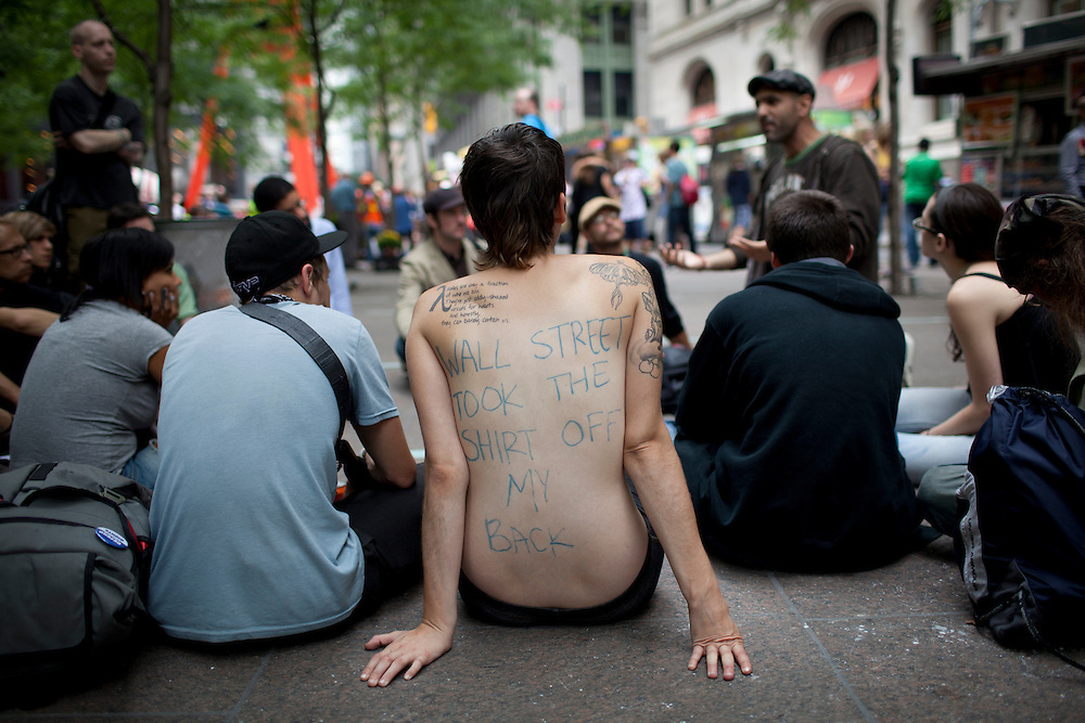 #occupywallstreet anti-corporate protests at Zuccotti Park in Lower Manhattan on September 21, 2011.  Photograph by Andrew Hinderaker.