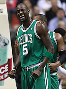 March 28, 2011; Indianapolis, IN, USA; Boston Celtics power forward Kevin Garnett (5) reacts after a play against the Indiana Pacers at Conseco Fieldhouse. Indiana defeated Boston 107-100. Mandatory credit: Michael Hickey-US PRESSWIRE