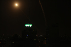 May 4, 2019 - Gaza, Gaza Strip, Palestine - A rocket fired from Gaza flies towards Israel, in Gaza City, 04 May 2019. Reports state five Palestinians were killed, including three in Israeli airstrikes in the Gaza Strip and two during protests after Friday prayer near the border with Israel eastern Gaza Strip. The Israeli army said almost 100 rockets were fired from the strip. (Credit Image: © Majdi Fathi/NurPhoto via ZUMA Press)