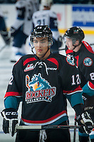 KELOWNA, CANADA - DECEMBER 3: Tyrell Goulbourne #12 of Kelowna Rockets warms up against the Saskatoon Blades on December 3, 2014 at Prospera Place in Kelowna, British Columbia, Canada.  (Photo by Marissa Baecker/Shoot the Breeze)  *** Local Caption *** Tyrell Goulbourne;