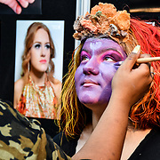 Kingston College by Artist Ashley Thomas-Doe and model/artist Oben Seyer demo at IMATS London on 18 May 2019,  London, UK.