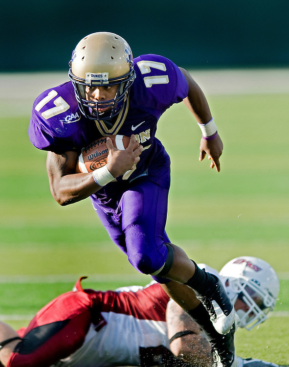 JMU tailback Griff Yancey breaks a tackle during Saturday's game against UMass at Bridgeforth Stadium in Harrisonburg.