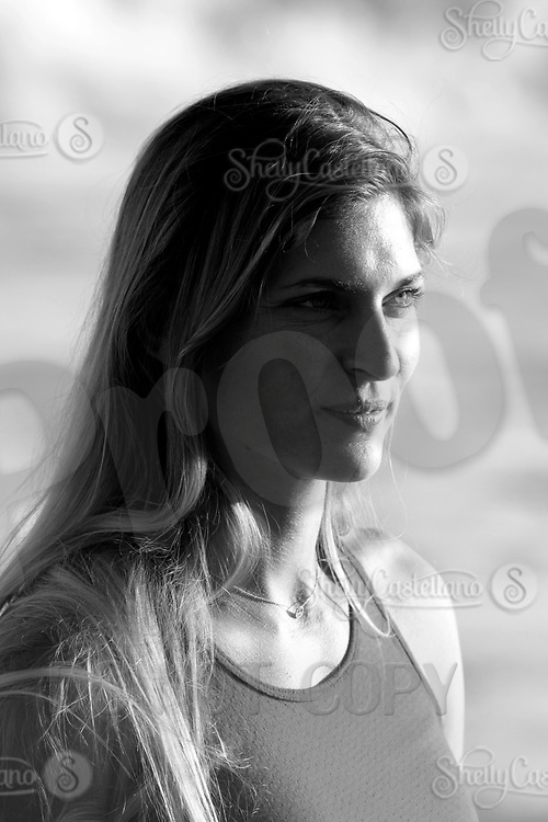 24 August 2002; Professional Volleyball player and model Gabrielle Reece, 32 on the beach in Malibu. .