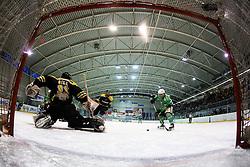 Michael Beiter of  EHC Bregenzwald vs Ales Sila of HK Playboy Slavija during 5th game of final INL league ice hockey match between HK Playboy Slavija and EHC Bregenwald at Dvorana Zalog, on April 3, 2013, in Ljubljana, Slovenia. (Photo by Matic Klansek Velej / Sportida)