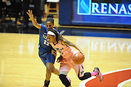 "Mississippi Lady Rebels guard A'Queen Hayes (3) drives against Kentucky Wildcats guard Bria Goss (13) at the C.M. ""Tad"" Smith Coliseum in Oxford, Miss. on Monday, February 23, 2015. (AP Photo/Oxford Eagle, Bruce Newman)"