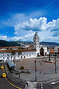 Plaza Santo Domingo and the 17th  Century Church of Santo Domingo in the capital city of Quito, Ecuador.