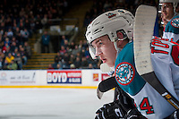 KELOWNA, CANADA - DECEMBER 30: Kyle Topping #24 of the Kelowna Rockets leans on the boards from the bench against the Victoria Royals on December 30, 2016 at Prospera Place in Kelowna, British Columbia, Canada.  (Photo by Marissa Baecker/Shoot the Breeze)  *** Local Caption ***