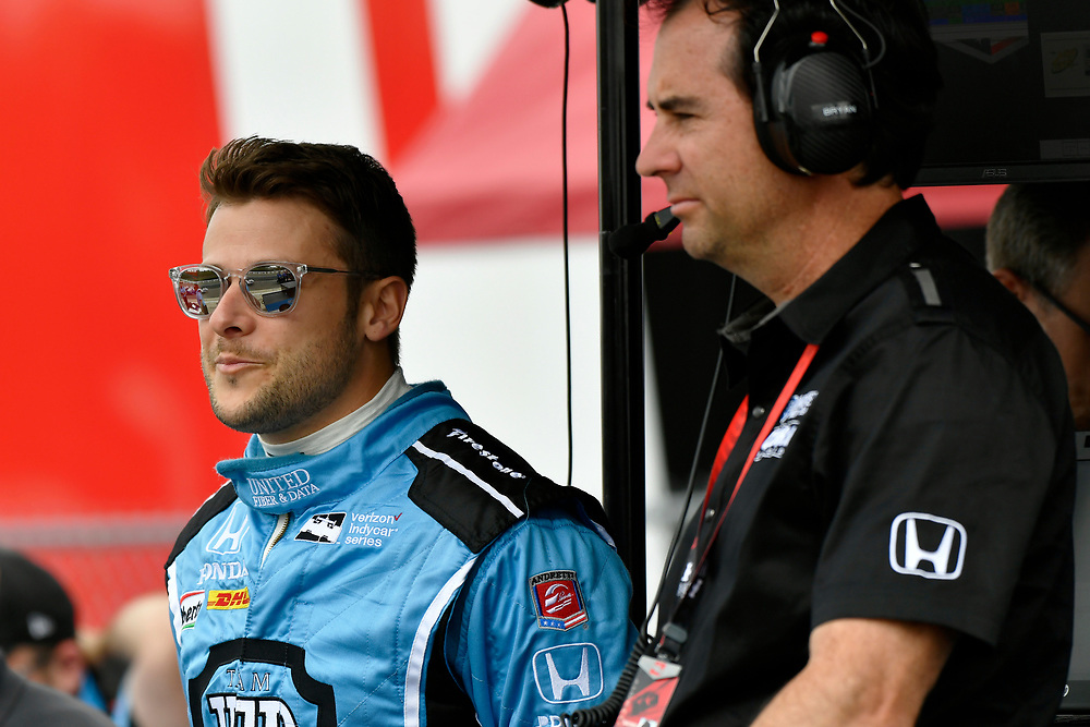 2017 Verizon IndyCar Series<br /> Honda Indy Grand Prix of Alabama<br /> Barber Motorsports Park, Birmingham, AL USA<br /> Saturday 22 April 2017<br /> Marco Andretti, Andretti Autosport with Lendium Honda, Bryan Herta <br /> World Copyright: Scott R LePage<br /> LAT Images<br /> ref: Digital Image lepage-170422-bhm-2480
