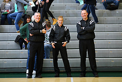 07 January 2017:  Lady is Robyn Foster.  Men are Matt Rager and John Marian during an Wheaton Thunder and the Illinois Wesleyan Titans in Shirk Center, Bloomington IL