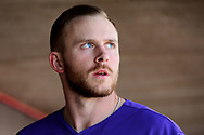 SCOTTSDALE, AZ - FEBRUARY 25:  Trevor Story #27 of the Colorado Rockies looks on during the spring training game against the Arizona Diamondbacks at Salt River Fields at Talking Stick on February 25, 2017 in Scottsdale, Arizona.  (Photo by Jennifer Stewart/Getty Images)