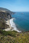 Late morning view of the beach near the famous Bixby Creek Bridge on Highway 1, near Carmel, Monterey County, California, USA.
