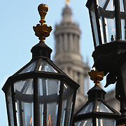 Gaslights in City Hall Park with the Manhattan Municipal Building in background, New York City, New York