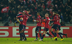 LILLE, FRANCE - Thursday, March 11, 2010: LOSC Lille Metropole's Eden Hazard celebrates scoring the winning goal against Liverpool during the UEFA Europa League Round of 16 1st Leg match at the Stadium Lille-Metropole. (Photo by David Rawcliffe/Propaganda)