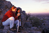 02472 Piestewa Peak Squaw Peak Phoenix Arizona AZ couple women hike morning sunrise new day starting