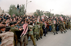 A military vehicle carry the coffin of the late King Hussein in the streets of Amman during funeral in Amman, Jordan on February 8, 1999. Twenty years ago, end of January and early February 1999, the Kingdom of Jordan witnessed a change of power as the late King Hussein came back from the United States of America to change his Crown Prince, only two weeks before he passed away. Photo by Balkis Press/ABACAPRESS.COM