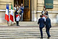 Arrivee d'Emmanuel MACRON et de Paolo GENTILONI<br /> Mercredi 27 septembre 2017, les gouvernements français et italien se sont reunit a Lyon, dans le cadre du 34eme sommet franco-italien, en presence du President de la Republique Emmanuel MACRON et du President du Conseil des ministres de la Republique italienne Paolo GENTILONI.