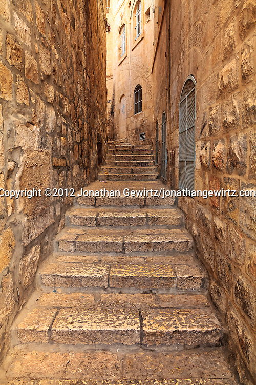 A narrow street in the Jewish Quarter of the Old City of Jerusalem. WATERMARKS WILL NOT APPEAR ON PRINTS OR LICENSED IMAGES.