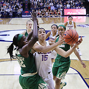 STORRS, CONNECTICUT- NOVEMBER 17: Gabby Williams #15 of the UConn Huskies drives to the basket defended by Beatrice Mompremier #32 of the Baylor Bears during the UConn Huskies Vs Baylor Bears NCAA Women's Basketball game at Gampel Pavilion, on November 17th, 2016 in Storrs, Connecticut. (Photo by Tim Clayton/Corbis via Getty Images)