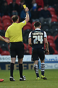 Ben Thompson of Millwall FC receives yellow card  during the Sky Bet League 1 match between Doncaster Rovers and Millwall at the Keepmoat Stadium, Doncaster, England on 27 February 2016. Photo by Ian Lyall.