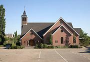 Small rural church in village of Kinderdijk Ablasserdam, near Rotterdam, Netherlands