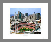 Custom printed, signed, and numbered 19x24 poster of Great American Ball Park, home of the Cincinnati Reds