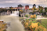 The Upper Falls area of Rochester, New York in Autumn.